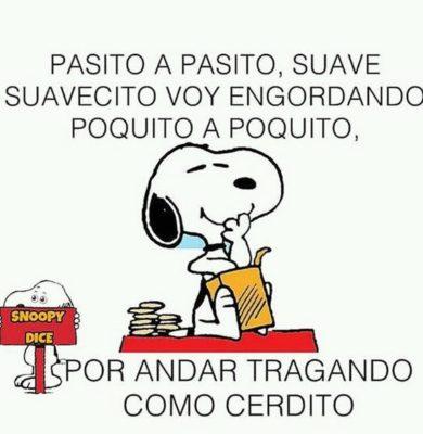 Snoopy comiendo de a poquito